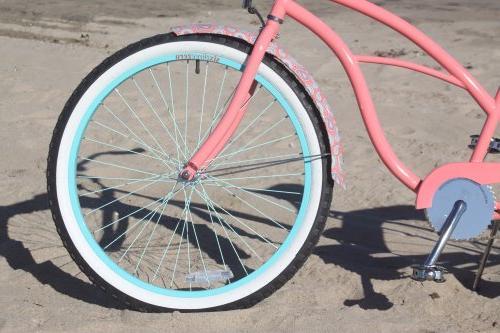 "sixthreezero Beach Bicycle, Paisley Coral Seat/Grips, 26"" Wheels/17"