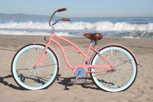 "sixthreezero Women's Coral Pink w/Brown 26"" Wheels/17 Frame"