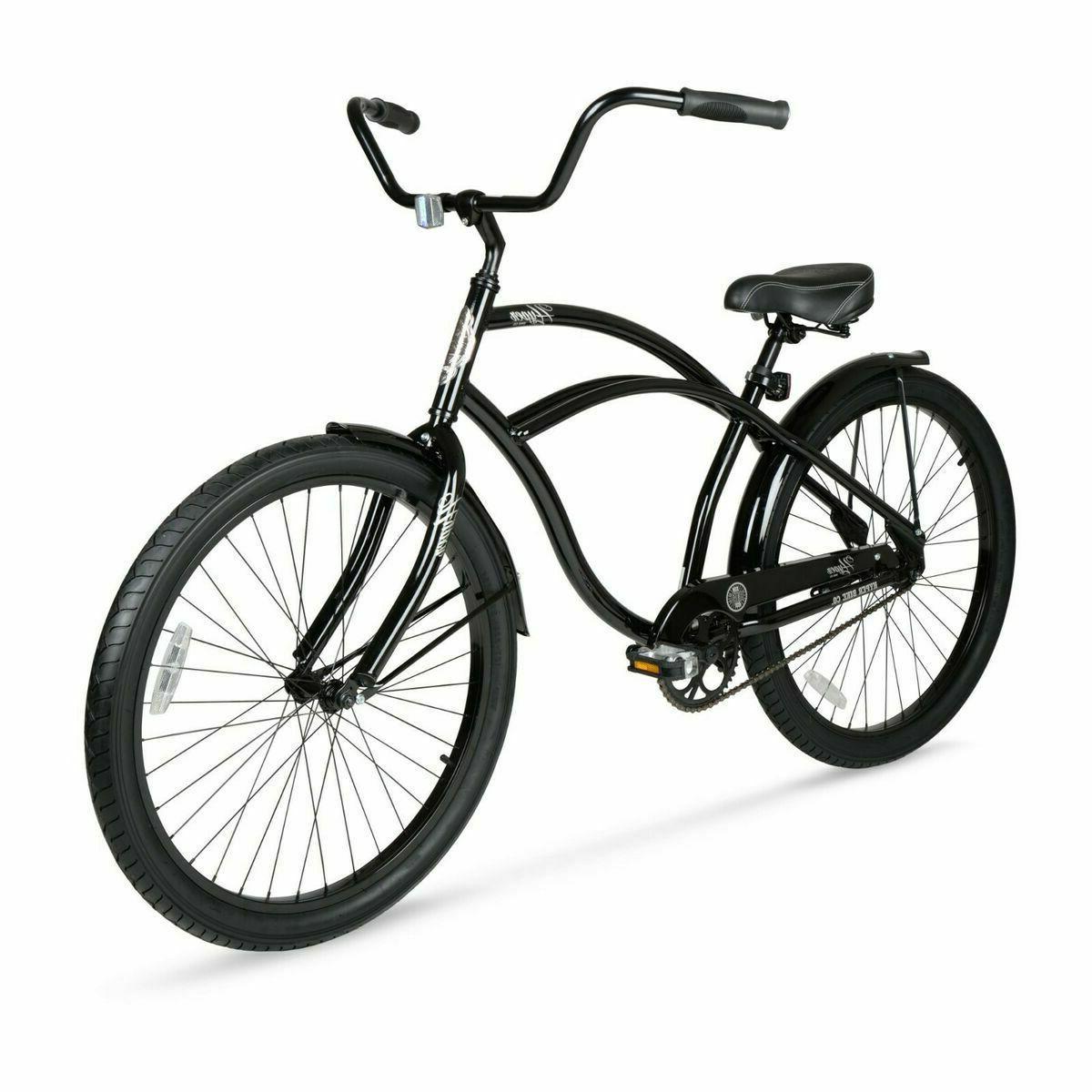 "Beach Cruiser Bike 26"" Men Elegant Black Sturdy Comfort Ba"