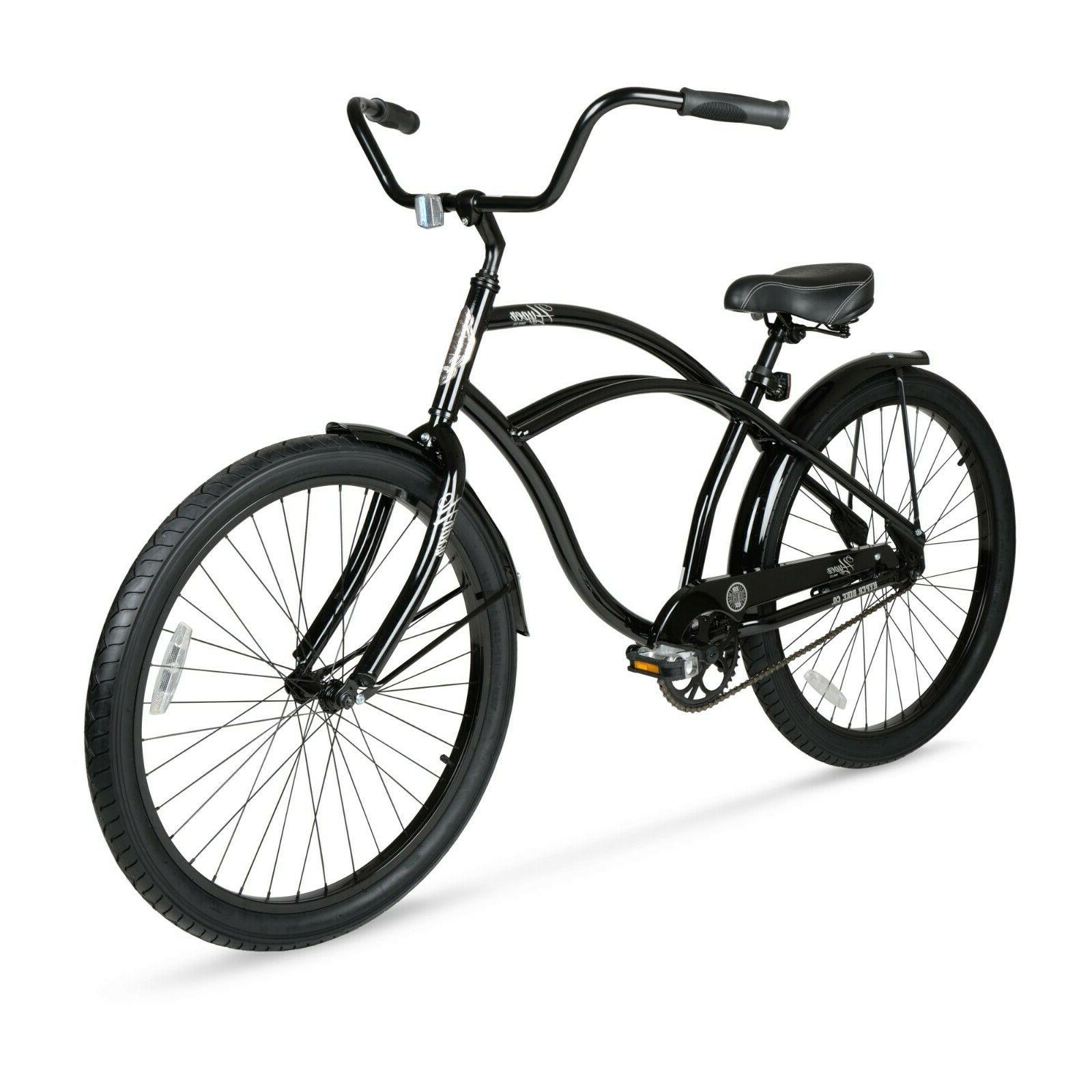 "Beach Cruiser Bike 26"" Men Elegant Black Sturdy Comfort Ba"