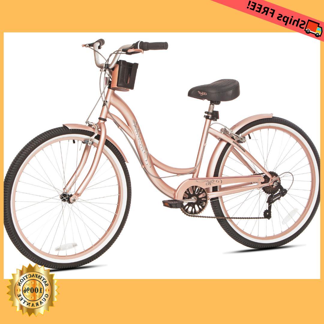 beach cruiser bike womens 26 rose gold