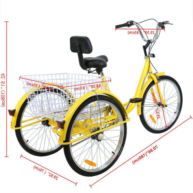 3-Wheel Adult 7-Speed Cruise Basket+Free
