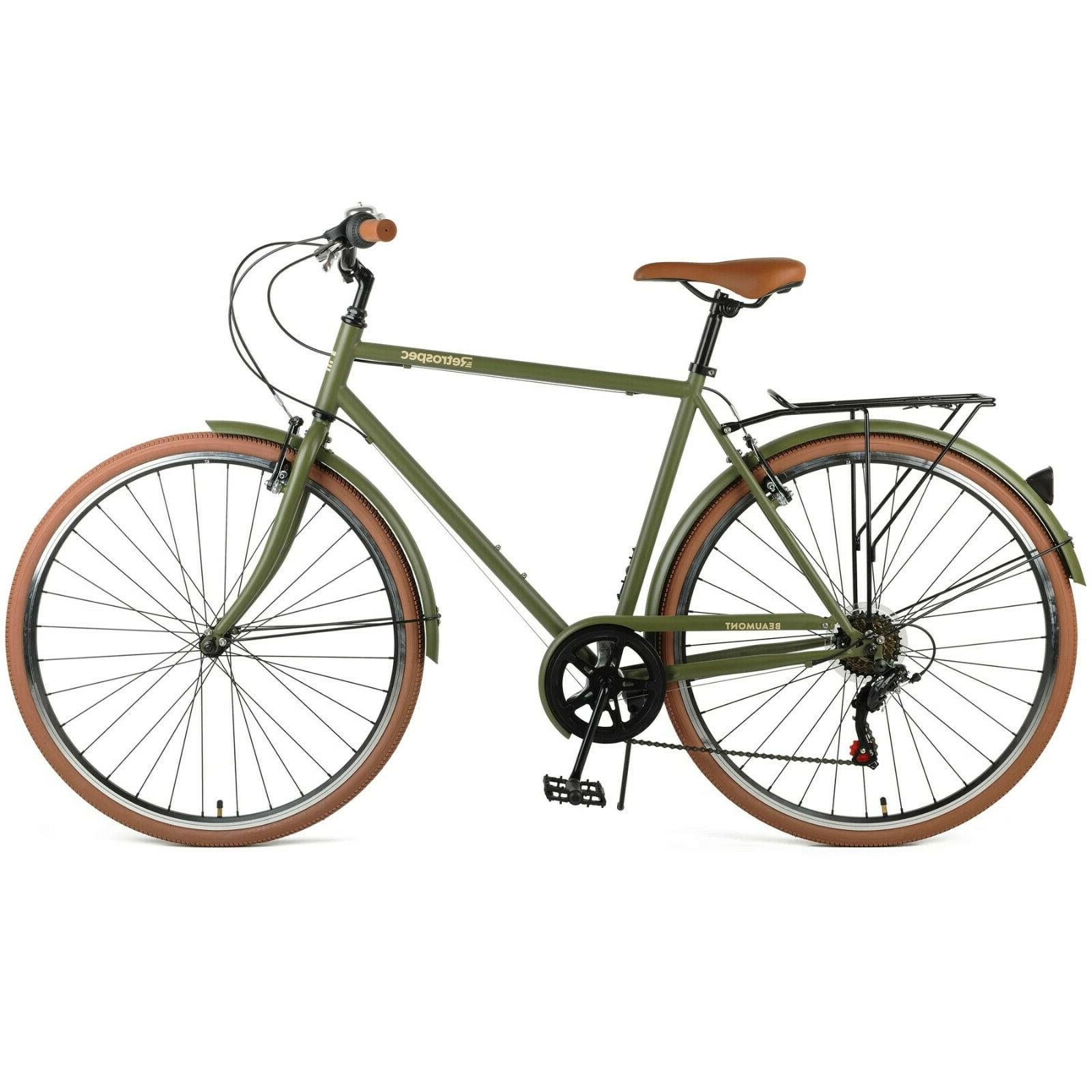 Retro Cruiser Beaumont City Bike, 7-Speed Olive Green Mens 5