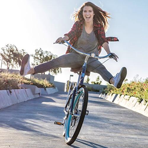 "sixthreezero EVRYjourney Speed Step-Through Hybrid Bicycle, w/Brown 26"" Wheels/ 17.5"" Frame"
