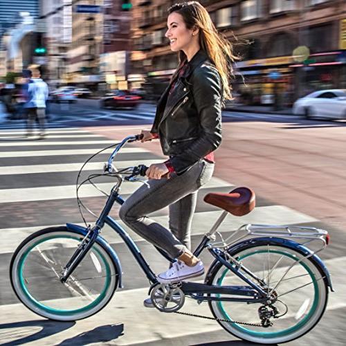 "sixthreezero EVRYjourney Women's Speed Bicycle, Navy w/Brown 26"" Wheels/"