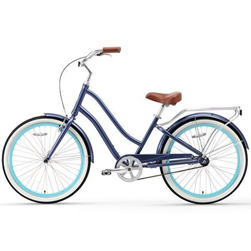 "sixthreezero Women's Speed Step-Through Cruiser Bicycle, Navy 26"" Wheels/ Frame"