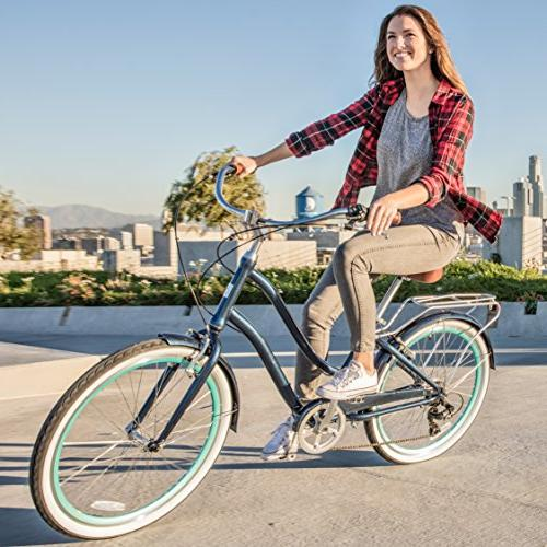 "sixthreezero Speed Step-Through Bicycle, Navy Seat/Grips, 26"""