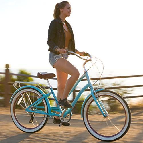 "sixthreezero Women's Step-Through Bicycle, Teal w/Brown 26"" Wheels/"