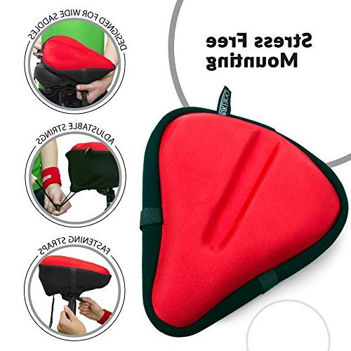 Bikeroo Large Exercise Seat Cushion Bicycle Wide - Most Bicycle Saddle Cover for Gel and Cycling