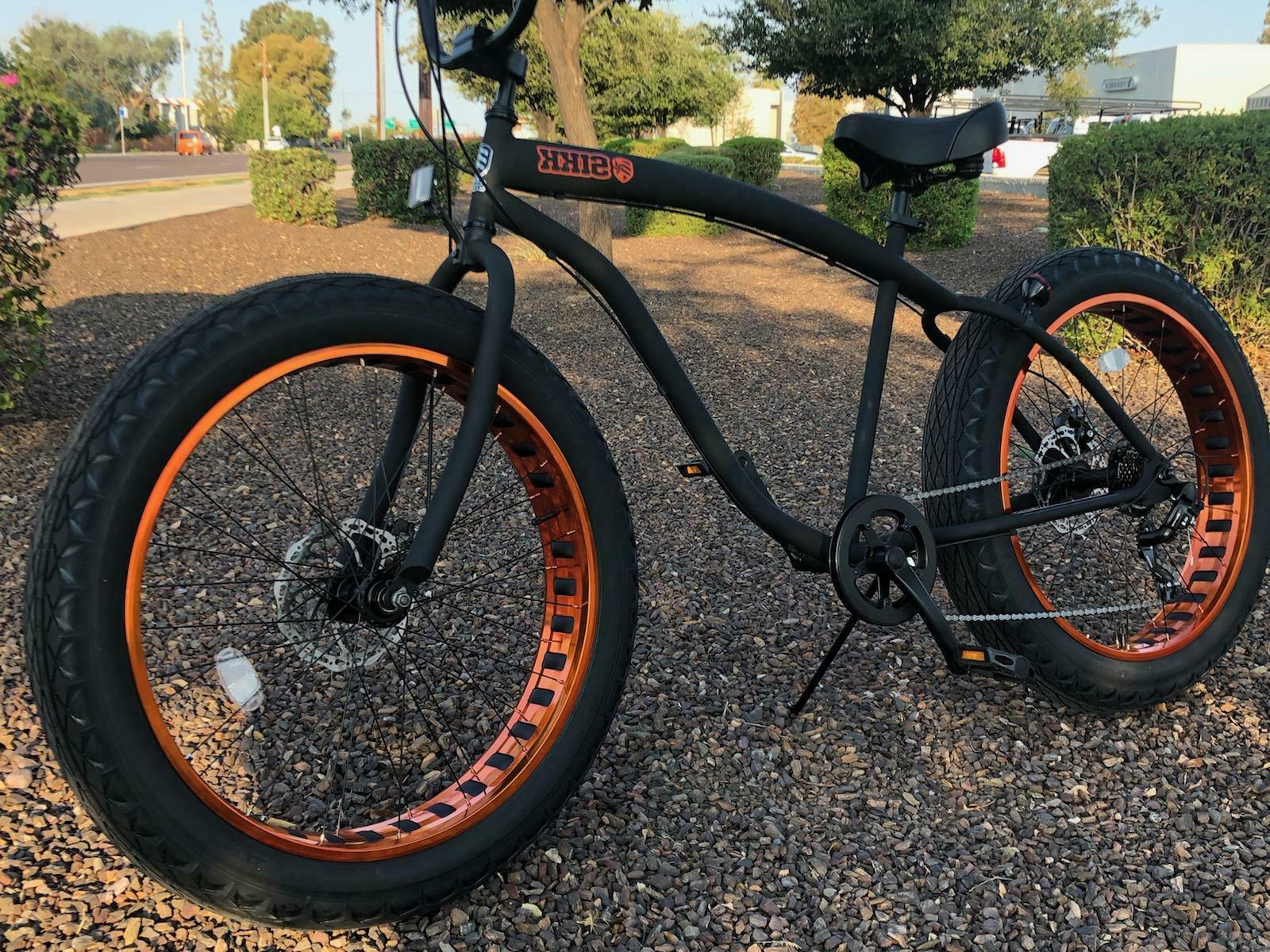 fat tire beach cruiser bike flat black