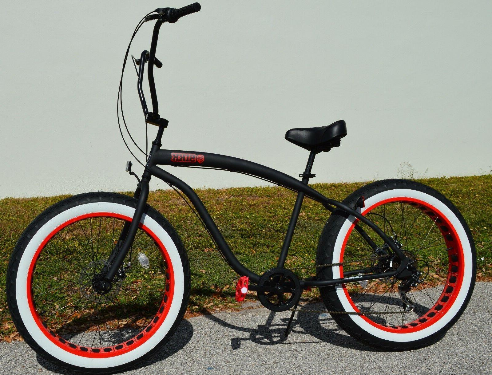 Fat Tire Beach Bike w Red Rim Tires