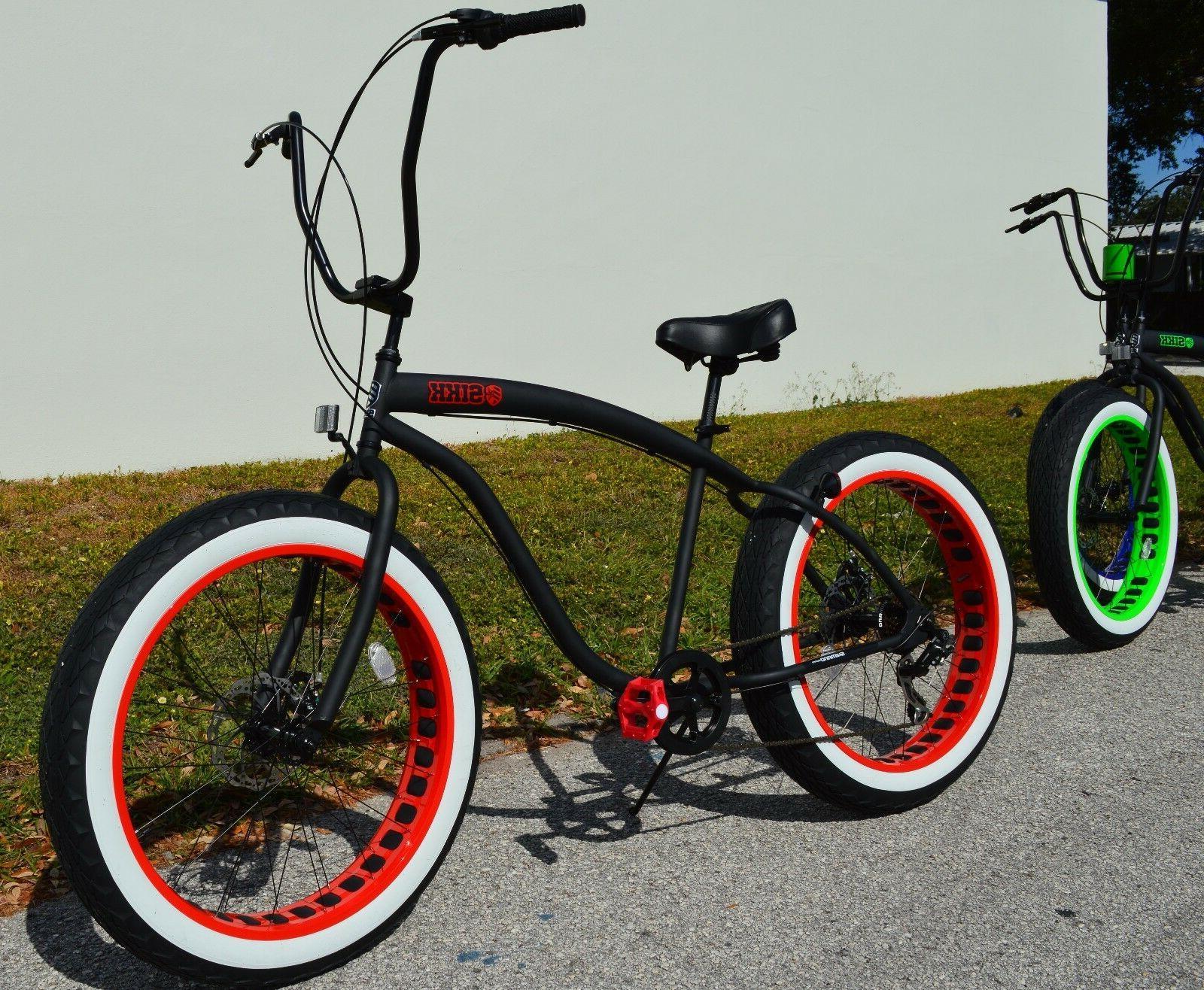 fat tire beach cruiser bike sikk black