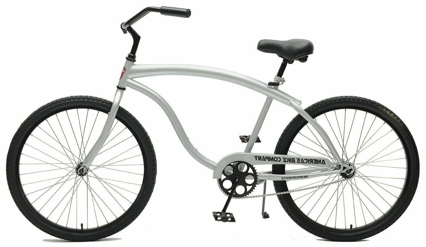heavy duty mens cruiser bike silver fast