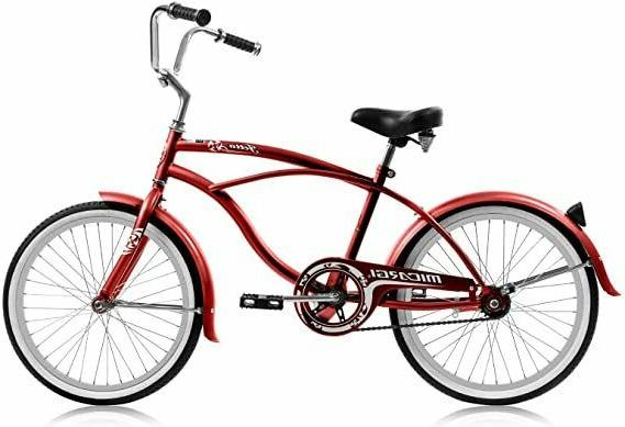 "Micargi JETTA-M-RED Men's 20"" Beach Cruiser Bicycle Bike, Re"