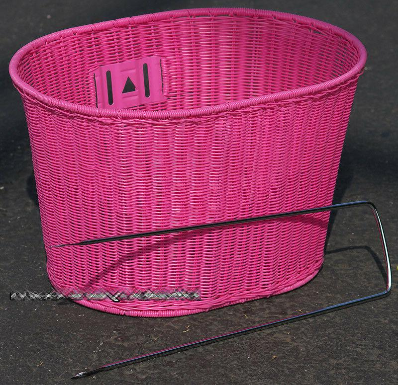 oval pink wicker mounting basket for beach