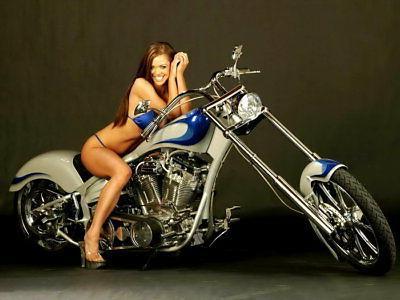 sexy girl chopper cruiser custom bike wall