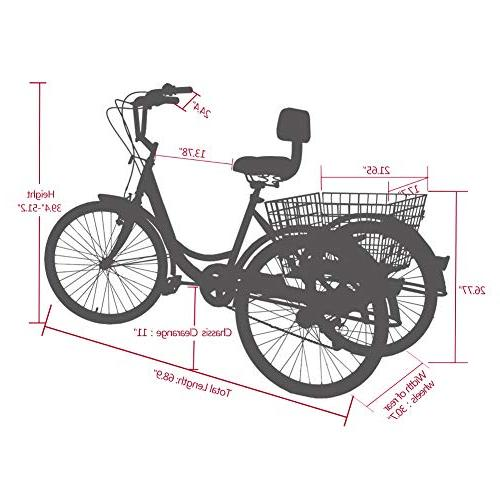 MOPHOTO Cruiser Bike w/Large Tools, Men's Women's Bicycles, 24 Size Bike Trike