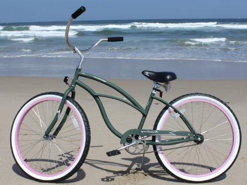 Firmstrong Lady Single Speed, Army Green w/ Pink Rims - Women's Beach