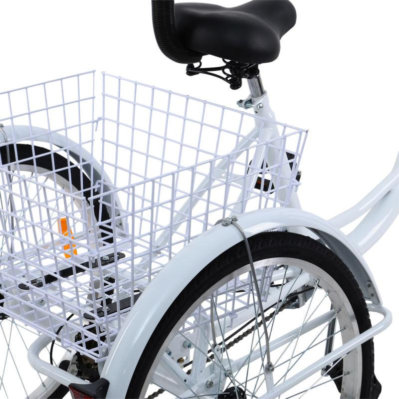 "White 24"" Adult 3-Wheel Trike Cruiser w/Backrest"
