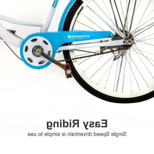 Womens Bike Single Speed Beach Cruiser Bike Racks,Blue,USA