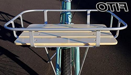 Aluminum Alloy-Silver Fito Wood-Bottom Flat Mounting Basket Beach Cruiser Bikes