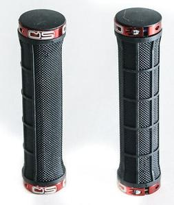Q2 Lock On MTB Hybrid Flat Bar Bike Grips Black Red 22.2mm /