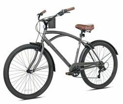 "Men's Bayside Beach Cruiser Bike 26""Perfect Fit Steel Frame,"