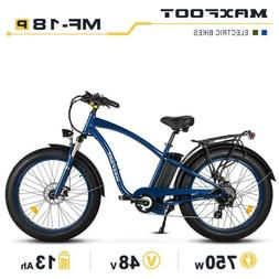 "MaxFoot MF-18 P Electric Bike 750W 26""Fat Tire Cruiser Bike"