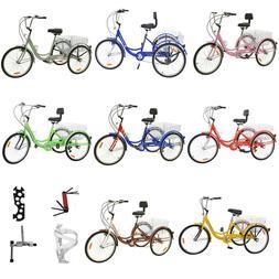"""24"""" 7-Speed 1-Speed Adult 3-Wheel Tricycle Trike Bicycle Bik"""