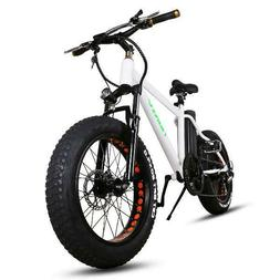 "NAKTO White 20"" Fat Tire Electric Bicycle Mini Cruiser"