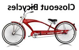"New 26"" Custom Stretch Beach Cruiser Bike 68 Spokes Coaster"
