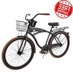 "NEW 26"" Huffy Nel Lusso vintage Men's Cruiser Bike Black Bea"