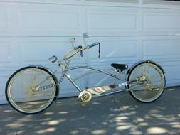 """NEW 26"""" STRETCHED LOWRIDER BEACH CRUISER BICYCLE GOLD N CHRO"""