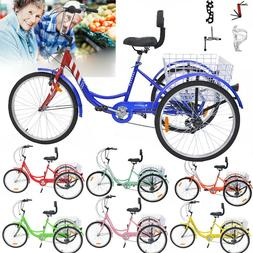 """New Adult Tricycles 7Speed 24"""" 26"""" 3Wheel Pedal Bike Cruiser"""