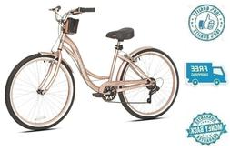 "New Pink Cruiser Bike 26"" Adult Women Beach Bicycle Shimano"