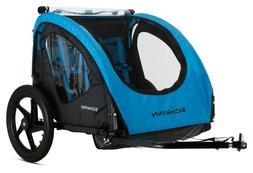 NEW Schwinn Shuttle Foldable Bike Trailer 2 Passengers Blue