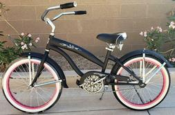 "Colby Cruisers Nicci 20"" Girls Beach Cruiser Matte Black/Pin"