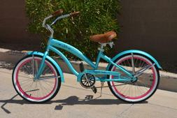 "Colby Cruisers Nicci 20"" Girls Beach Cruiser Teal/Pink"