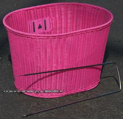 Fito Oval Pink Wicker Mounting Basket for Beach Cruiser Bike