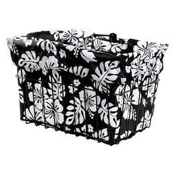 Cruiser Candy Black/White Hibiscus Bicycle Basket Liner