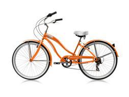 "Micargi ROVER-7SP-F-ORG Women's 26"" Beach Cruiser Bicycle Bi"