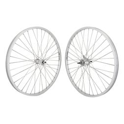 """Silver 26"""" x 1.75 Alloy Bicycle WheelSet Front /Rear Cruiser"""