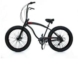 "MICARGI SLUGO SS 26"" BLACK 7-Speed Fat Tire Beach Cruiser Bi"