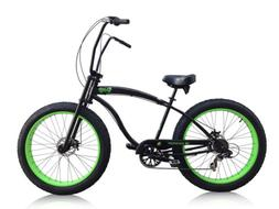 "Micargi Slugo-SS-BK/NGRN 26"" Fat Tire Chopper 7sp Cruiser Bi"