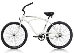 "Micargi TOUCH-M-WHI Men's 26"" Beach Cruiser Bicycle Bike, Wh"