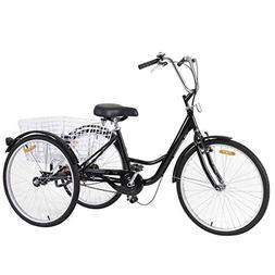 Goplus Adult Tricycle 3-Wheel Bicycle Single Speed Bike Seat