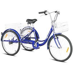 Goplus Adult Tricycle Trike Cruise Bike Three-Wheeled Bicycl