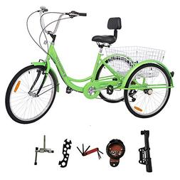 MOPHOTO Adult Tricycle Trike Cruiser Bike Three-Wheeled Bicy