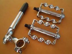 "Twisted Chrome Lowrider Bicycle STEM PEDALS 20-26"" Cruiser B"