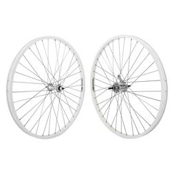 """White 26"""" x 1.75 Alloy Bicycle WheelSet Front /Rear Cruiser"""